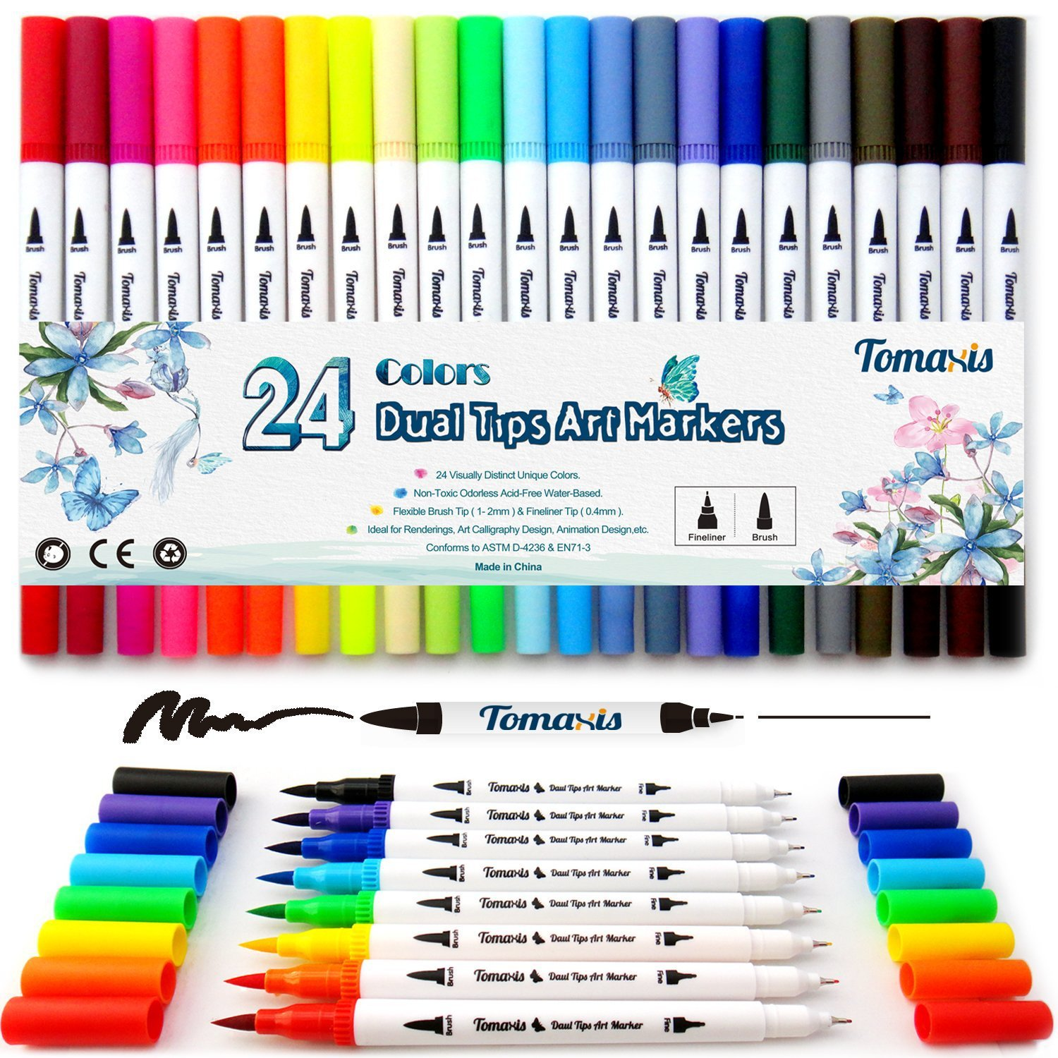 Dual Tips Fine Brush Sketch Marker Pen Water Based Ink Watercolor Paintbrush