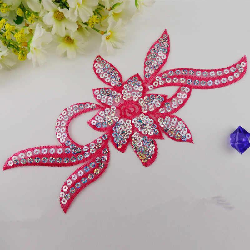 Diy 3D красные цветы блестки вышитые Сделай Сам дизайн патч пастоли аксессуары высокое украшение Одежда