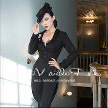 Ретро черная шерстяная была тонкая женская сексуальная мода Новая рабочая куртка кроя «Ласточкин хвост» Хепберн Топ костюм