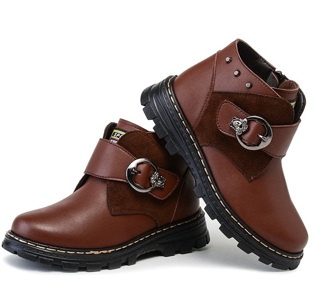 New winter children's shoes baby boy shoes genuine leather snow  boots  winter warm  slippoof and waterproof shoes 1063