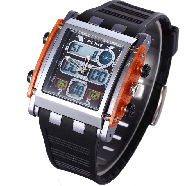Watches Men Alike Brand Clock Digital LED Waterproof Quartz Watch Army Military Sport Watch Relogio Masculino