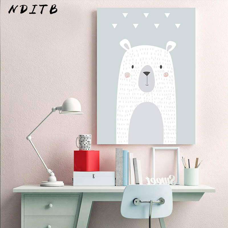 Animal Bear Bunny Balloon Canvas Wall Art Print Cartoon Poster Nursery Painting Nordic Kid Decoration Picture Baby Bedroom Decor in Painting Calligraphy from Home Garden