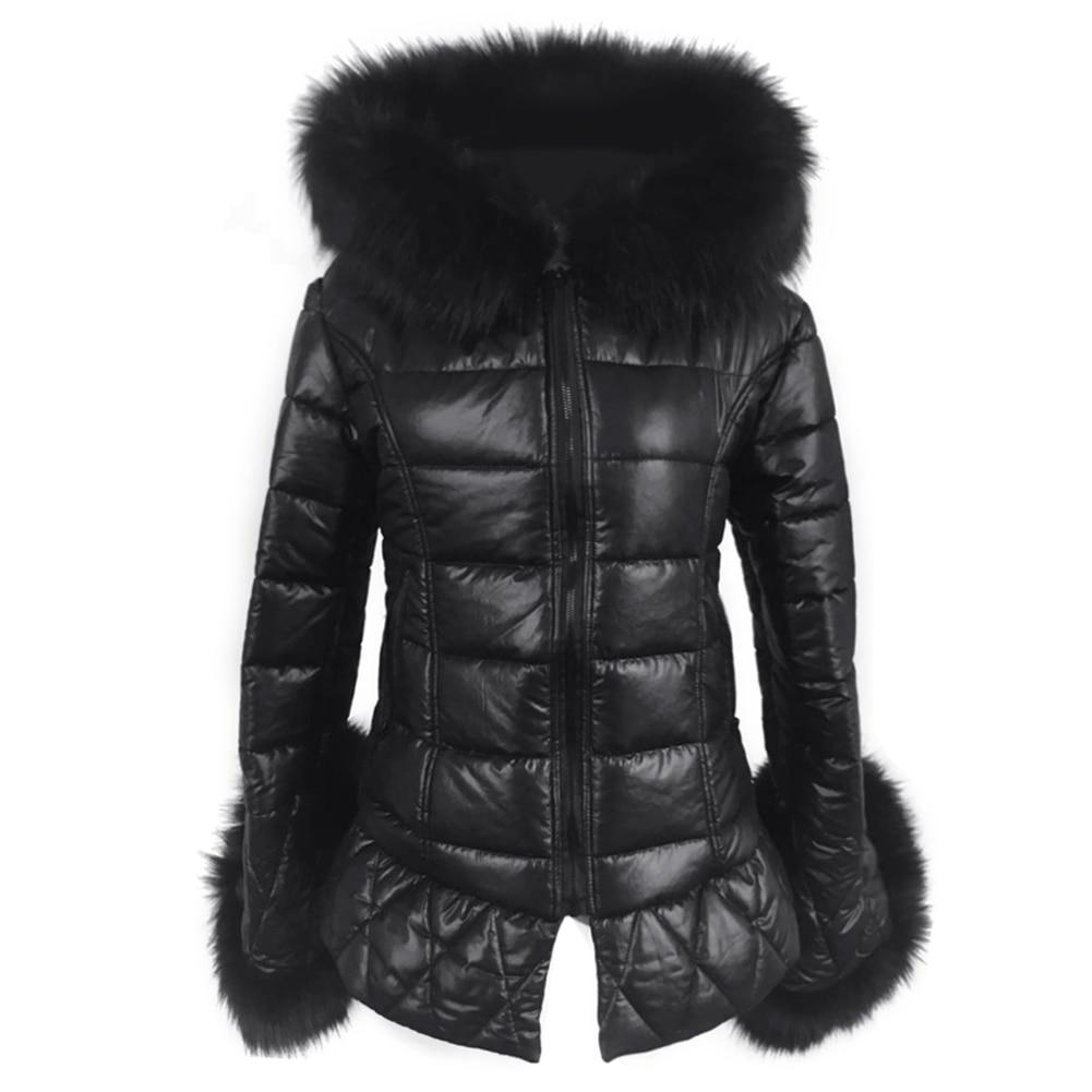 Real Fox Fur Faux Leather Long Down Parkas Women Warm Winter Long Coat Fur Hooded Sleeve Female Coats Plus Size Jacket Outwear