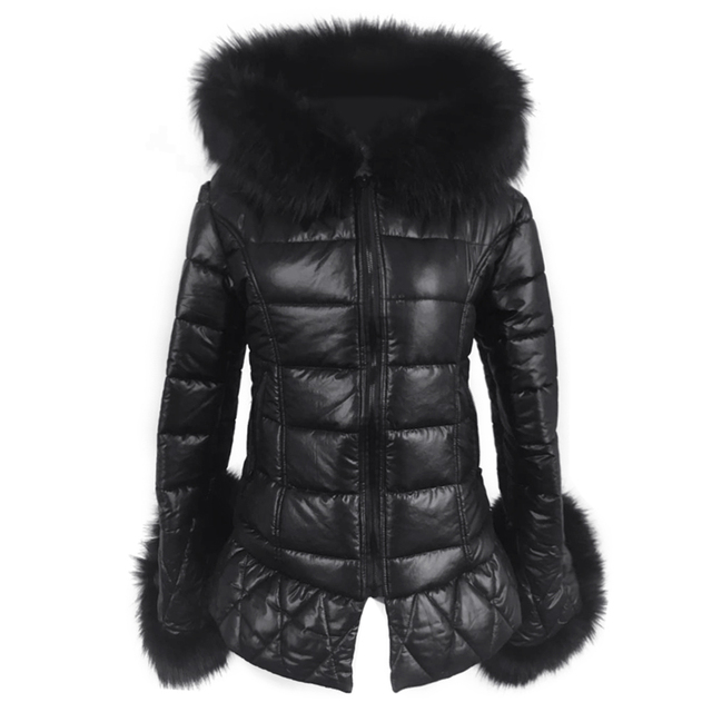 Real Fox Fur Faux Leather Long Down Parkas Women Warm Winter Long Coat Fur Hooded Sleeve Female Coats Plus Size Jacket Outwear