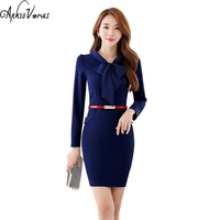 Plus Size Women Pencil Dress Long Sleeve Office Lady Brief Dark Dress Sashes OL Autumn Sexy
