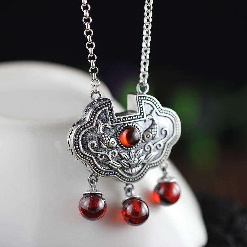 wholesale 925 sterling silver jewelry Red Garnet Pendant Set 030965w chain lock auspicious cloudswholesale 925 sterling silver jewelry Red Garnet Pendant Set 030965w chain lock auspicious clouds