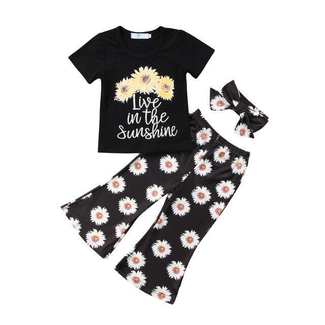 Casual 3Pcs Sunflower Clothes Set Summer Toddler Girls Kids Tops T-shirt Pants Outfit Set