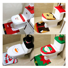 PMYUMAO Santa Claus Rug Toilet Seat Cover Bathroom Set Snowman Merry Christmas Decoration Fancy Navidad Xmax Decoration Supplies