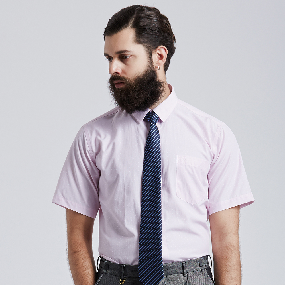 Royal Suits Light Pink With White Point Business Man Short Sleeve