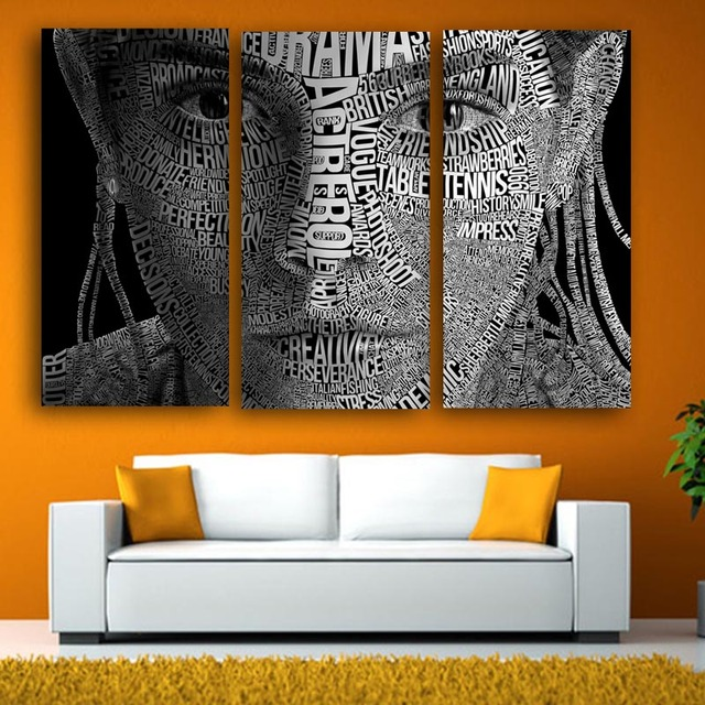 3 Piece Canvas Picture letter Paintings Color Woman Face Art Wall