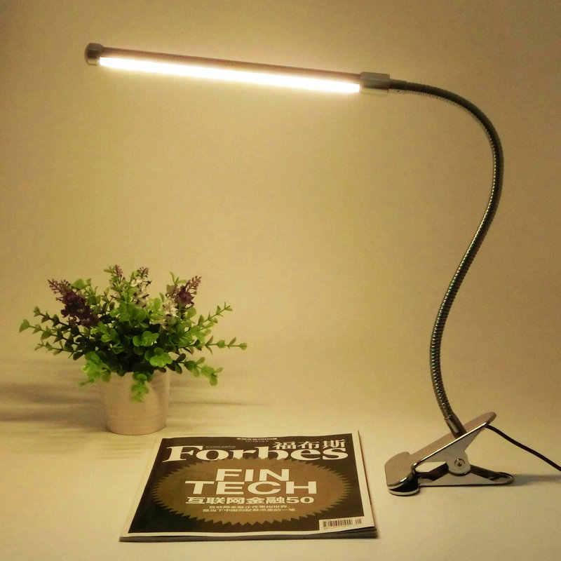 Led Защита глаз два уровня Переключатель яркости Диммер Чтение Настольная лампа с металлическим зажимом, 1 шт./лот
