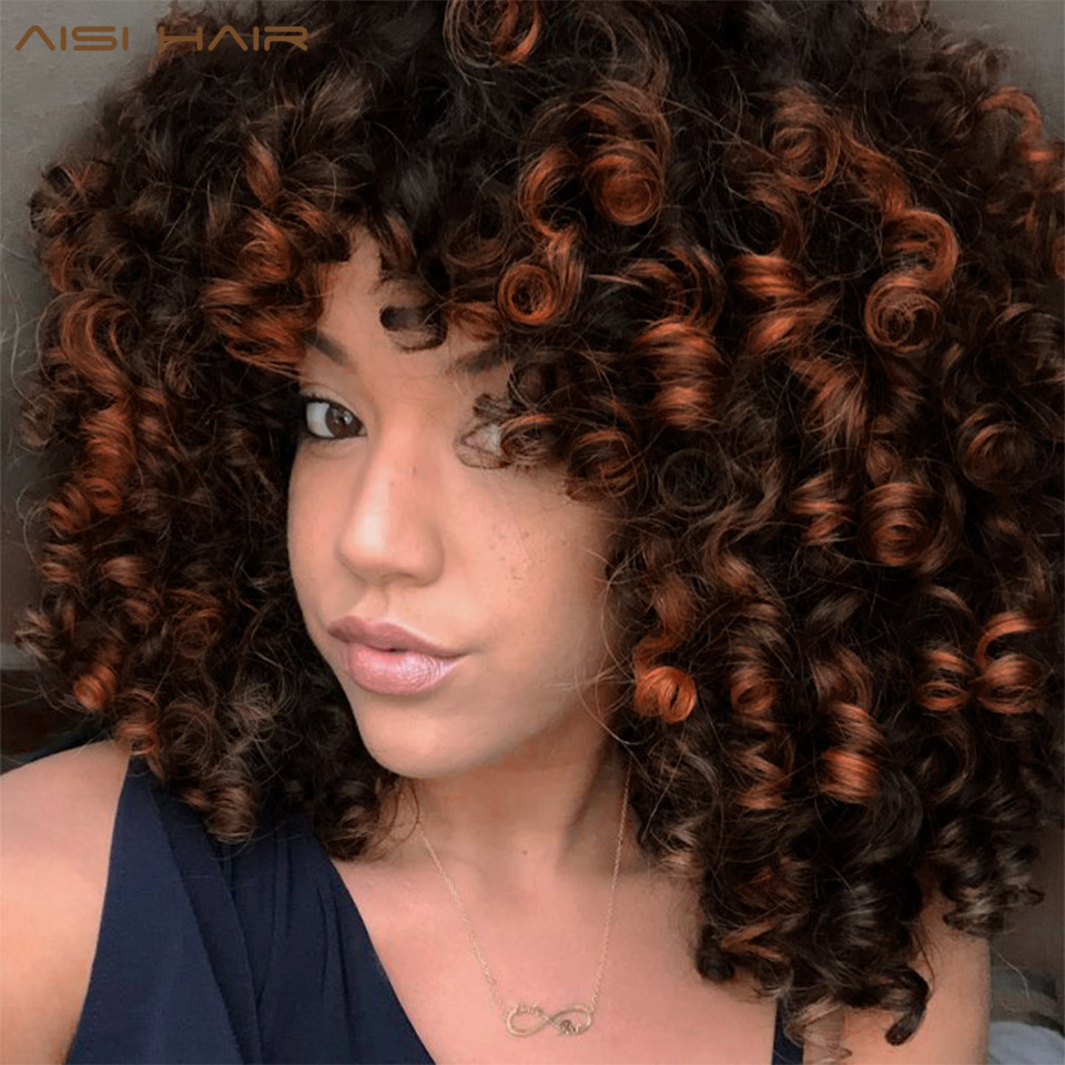 AISI HAIR Mixed Wig Kinky Curly Synthetic Wigs For Black