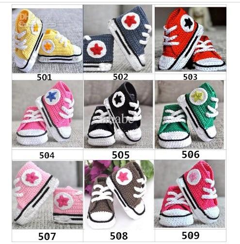 Baby hæklet sneakers første tur sko børn sport håndlavede tennis booties bomuld 0-12M 15pairs / lot brugerdefineret