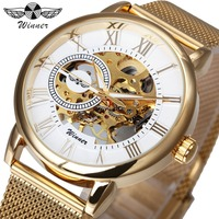 WINNER Top Brand Luxury Ultra Thin Golden Men Mechanical Watch Mesh Strap Skeleton Dial Men Classic