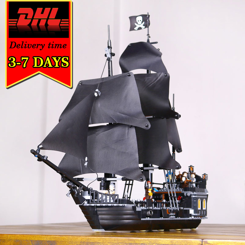 DHL LEPIN 16006 Black Pearl Pirates War ship Model Kit Building Blocks Compatible Brick Military Toy For Children Caribbean Boat 1513pcs pirates of the caribbean black pearl general dark ship 1313 model building blocks children boy toys compatible with lego