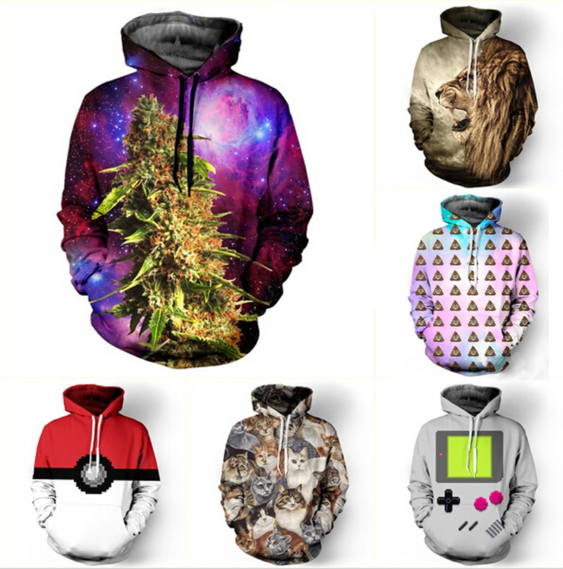 Drop shipping Fashion 3D Galaxy hoodies print hemp tiger cat font b jacket b font men