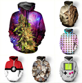 Drop shipping Fashion 3D Galaxy hoodies print hemp/tiger/cat jacket men/women Harajuku sweatshirt casual Graphics pullover hoody