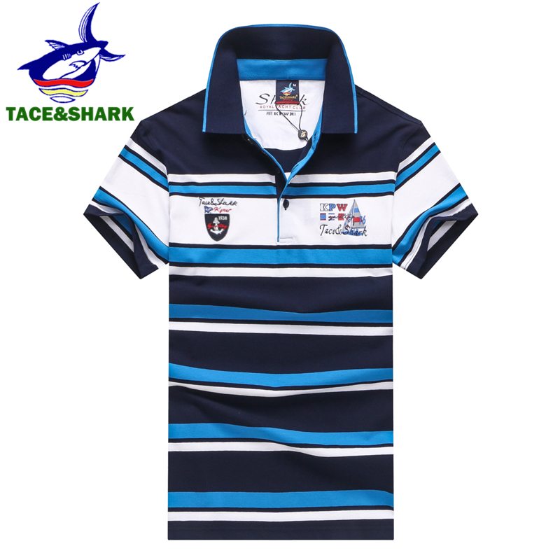 TACE&SHARK Brand Stripe   Polo   Fashion Business Casual Male Shark Embroidery   Polos   Shirt Camiseta Masculina Homme High Quality