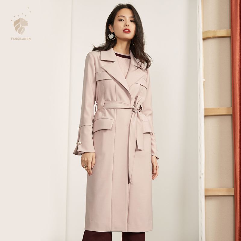 FANSILANEN 2017 New Arrival Fashion New Arrival Work Casual Autumn/Winter Trench Coat For Women Feminine Female Coat Long Z72203 autumn and winter coat for women a new autumn winter coat for women