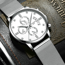 Delicate Luxury Mens Watches High Quality No Fade Waterproof Calendar Clock Stainless Steel Watch