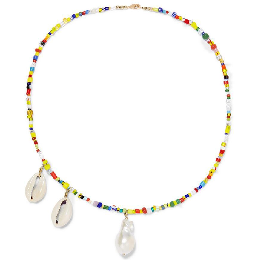 Bohemian Summer Handmade Necklace Women Colorful Beads Statement Necklace Shell Simulated Pearl Choker Necklace Wedding Jewelry in Pendant Necklaces from Jewelry Accessories