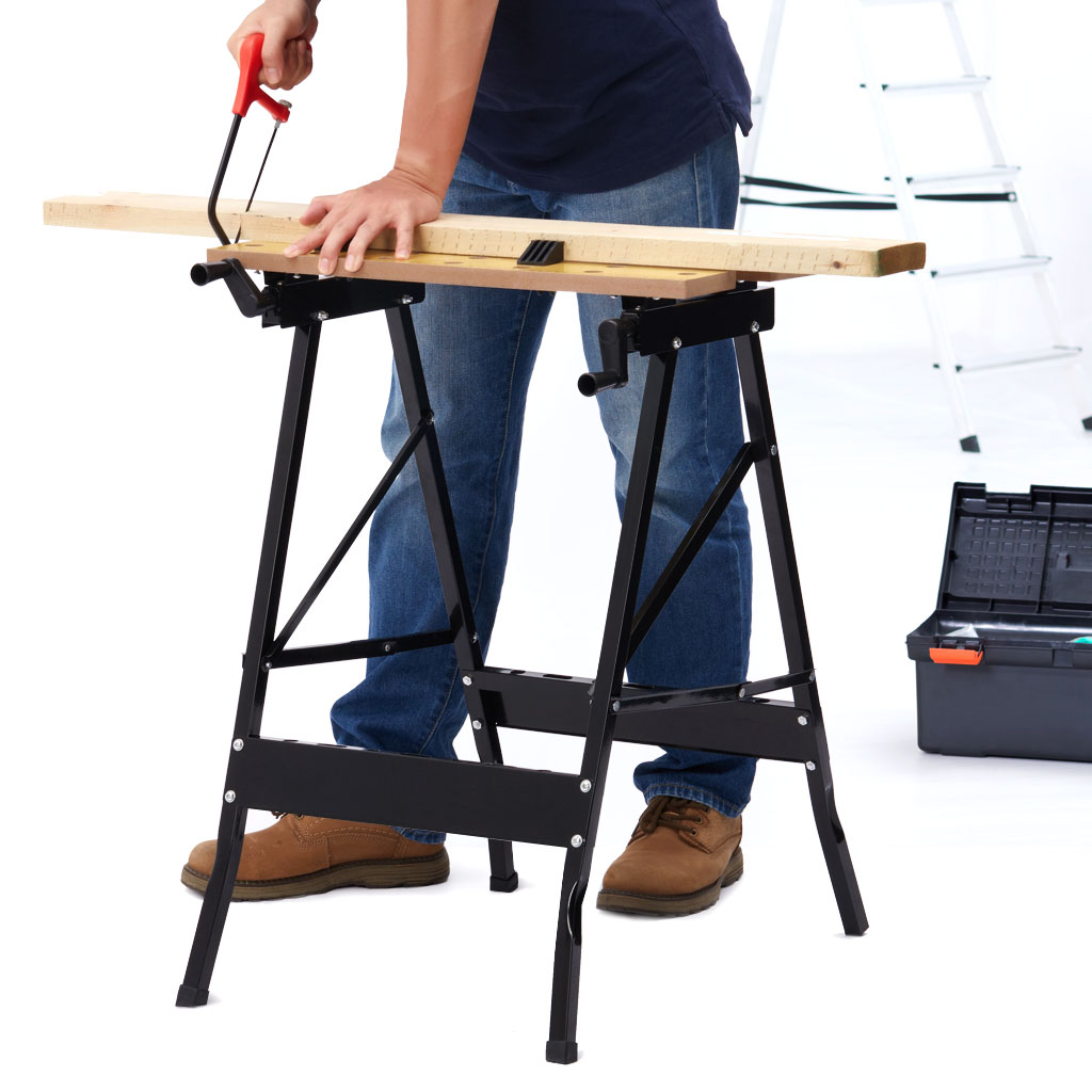 Finether Multi-Purpose Folding Workbench And Vice Portable Work Table Sawhorse With Quick Clamp Pegs And Tool Holders DIY Tools
