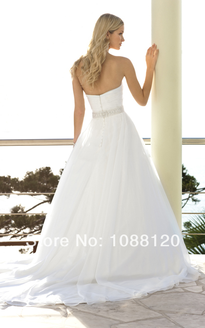 ba75b2276197d Custom Wedding Dresses Plain White Organza with Beaded Sashes A Line  Sweetheart Open Back Floor Length Free Shipping WB1537-in Wedding Dresses  from Weddings ...