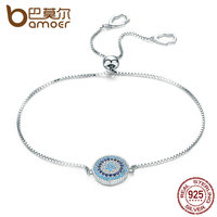 BAMOER 925 Sterling Silver Luxury Round Blue Lucky Eyes Power Bracelet Pave CZ Adjustable Link Chain
