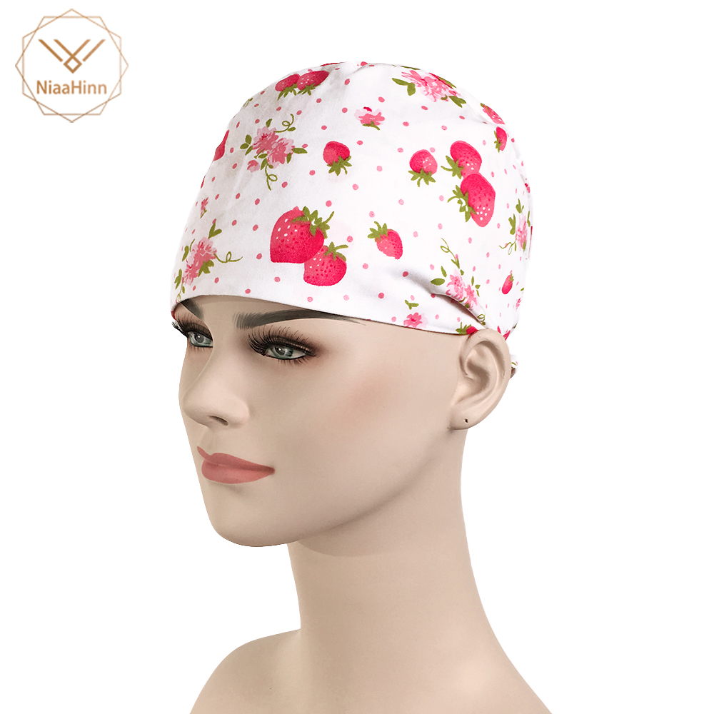 Hospital Strawberry Printing Surgical Cap For Women Nurse Medical Hat Adjustable Tie Back Skull Surgical Work Medical Cap Cotton