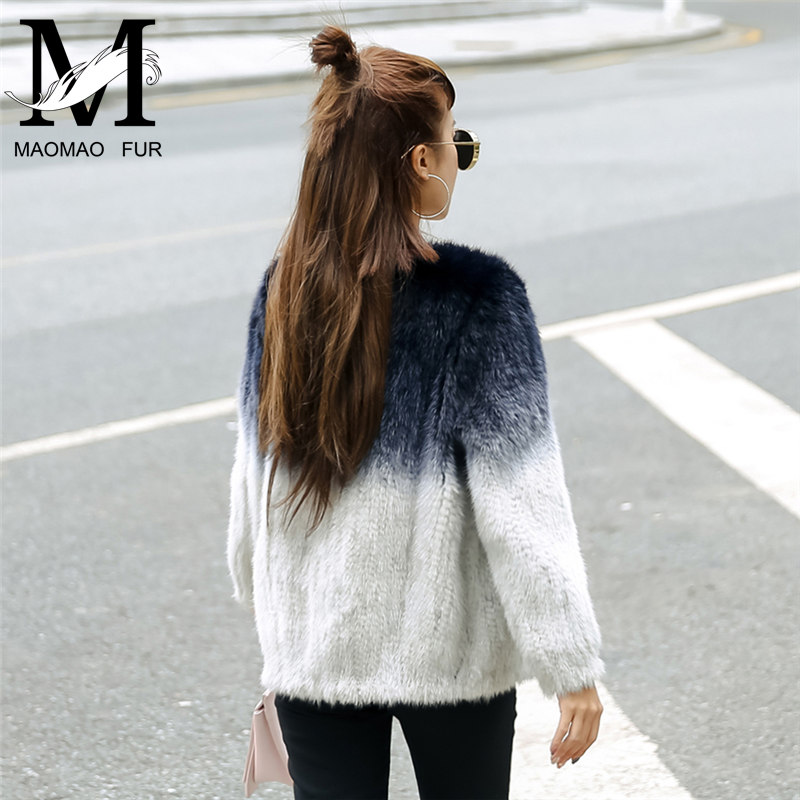 Women Knitted Mink Fur Coat Winter Natural Mink Fur Knitted Jacket Ladies Fashion Mink Fur Knit Garment Outerwear