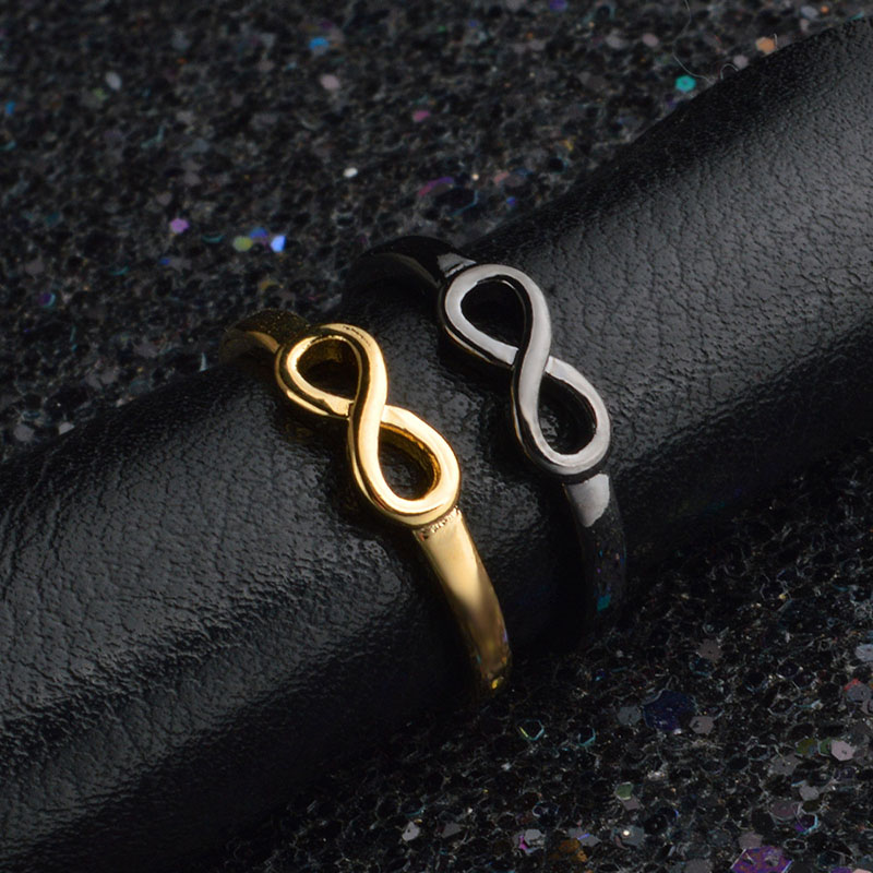 RE gold silver black color infinity ring eternity ring charms best friend gift endless love symbol fashion rings for women J30 in Rings from Jewelry Accessories