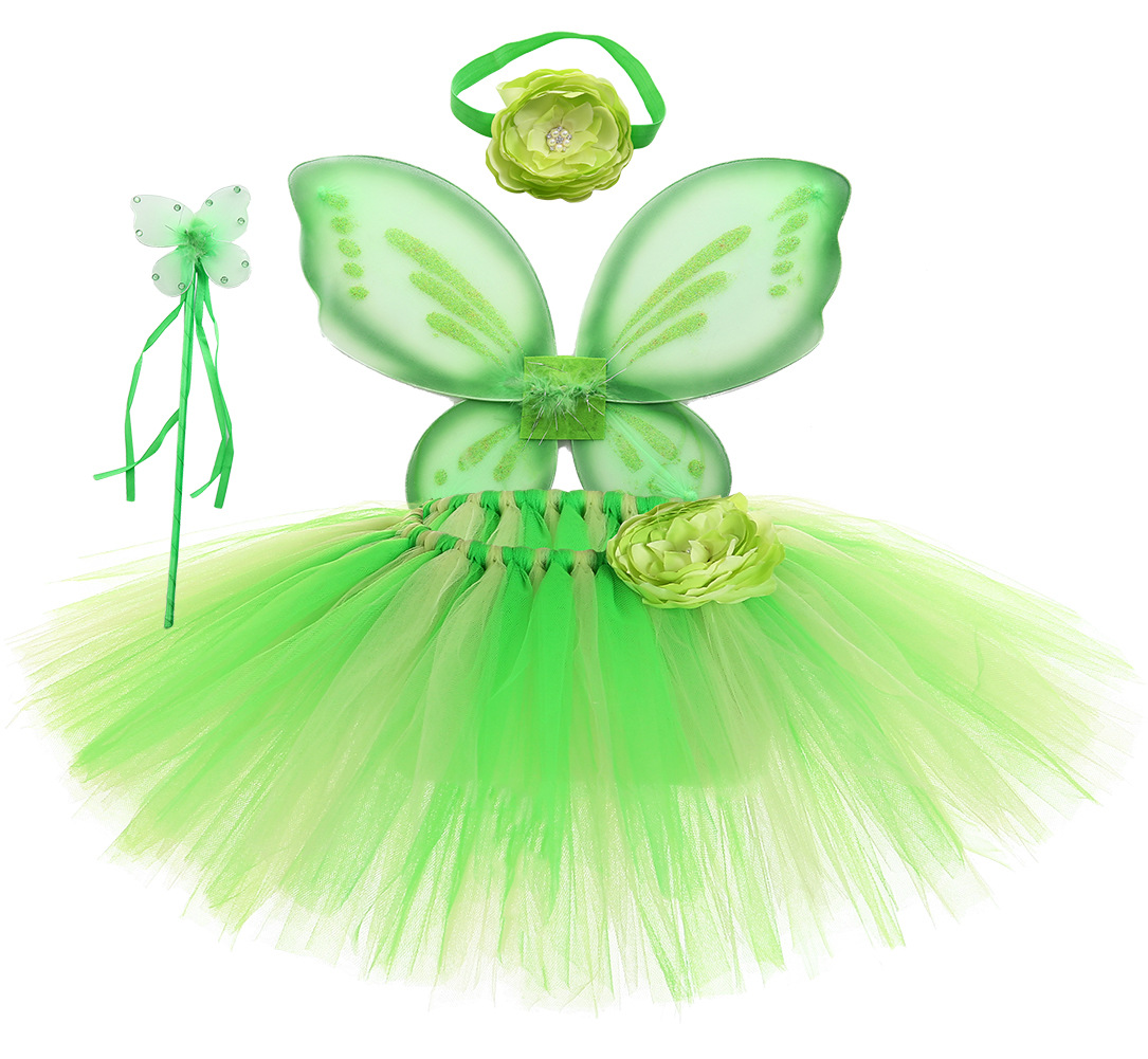 Tinkerbell Girl Magic Fairy Birthday Party Dress Child Princess Pixie Cosplay Tutu Dresses With Wings Easter Custom Clothing Set