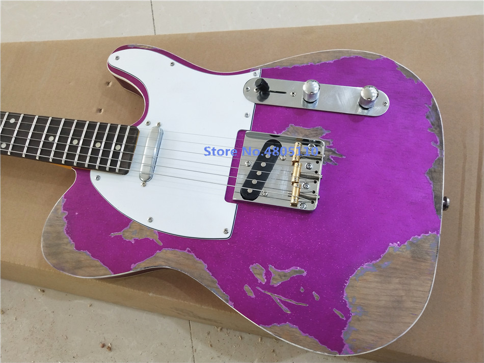 Hand-made 6 stinger TV gitar, hand inherited classic electric guitar relics.Purple master built relic guitars free of shippingHand-made 6 stinger TV gitar, hand inherited classic electric guitar relics.Purple master built relic guitars free of shipping