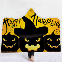 Halloween Hooded Wearable Blanket Pumpkin Witch Thick Blanket Winter Sofa Bedding Throw for Adults Kids Home Cobija Cobertor