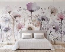 Купить с кэшбэком Beibehang Mural wallpaper watercolor hand-painted lilac flowers beautiful TV background wallpaper home decoration 3d wallpaper
