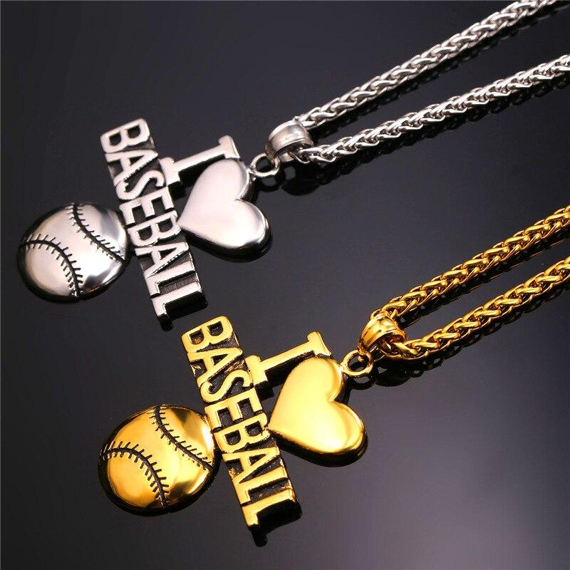Starlord Baseball Pendant Charms Necklace I Love Baseball Sport