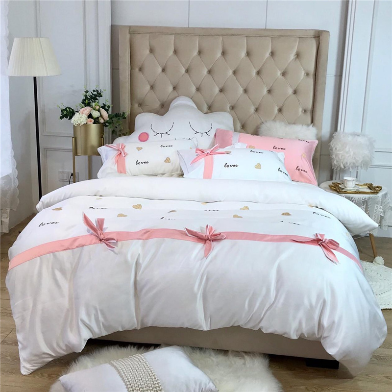 Luxury Washed Silk Cotton Smooth Bedding Set Embroidery Duvet Cover Set Bed Sheet Pillowcases Queen King size Cloud BigbackLuxury Washed Silk Cotton Smooth Bedding Set Embroidery Duvet Cover Set Bed Sheet Pillowcases Queen King size Cloud Bigback