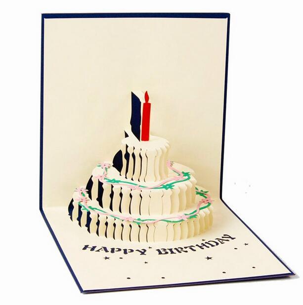 hotsale birthday invitation card handmade party invitation 3d cake