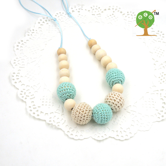 Drop shipping Mint teal cream crochet beads Teething necklace Breastfeeding mom necklace. baby teether shower gift EN14