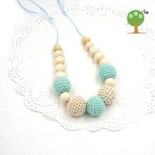Mint teal cream crochet beads Teething