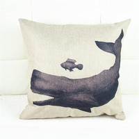 Vintage Cartoon Whale Decorative Cotton Linens Pillow Cases Covesr Living Room Bed Chair Seat Waist Throw