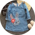 Free Shipping 6pcs/lot 2017 Spring Model Little Bunny Appliqued Denim Dresses for 2-8yrs Baby Girls