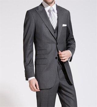 New Style Groom Tuxedos Dark Grey Groomsmen Peak Lapel Wedding/Dinner Suits Best Man Bridegroom (Jacket+Pants+Tie+Vest) B574