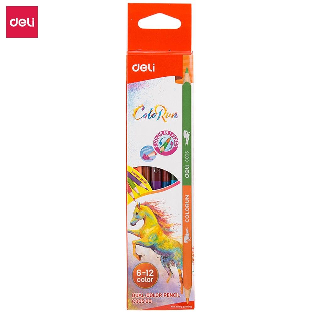 Deli EC005 двухцветный карандаш 12/24 цветов Цветные карандаши для школы детский художественный Набор для рисования эскизов школьные принадлежно...