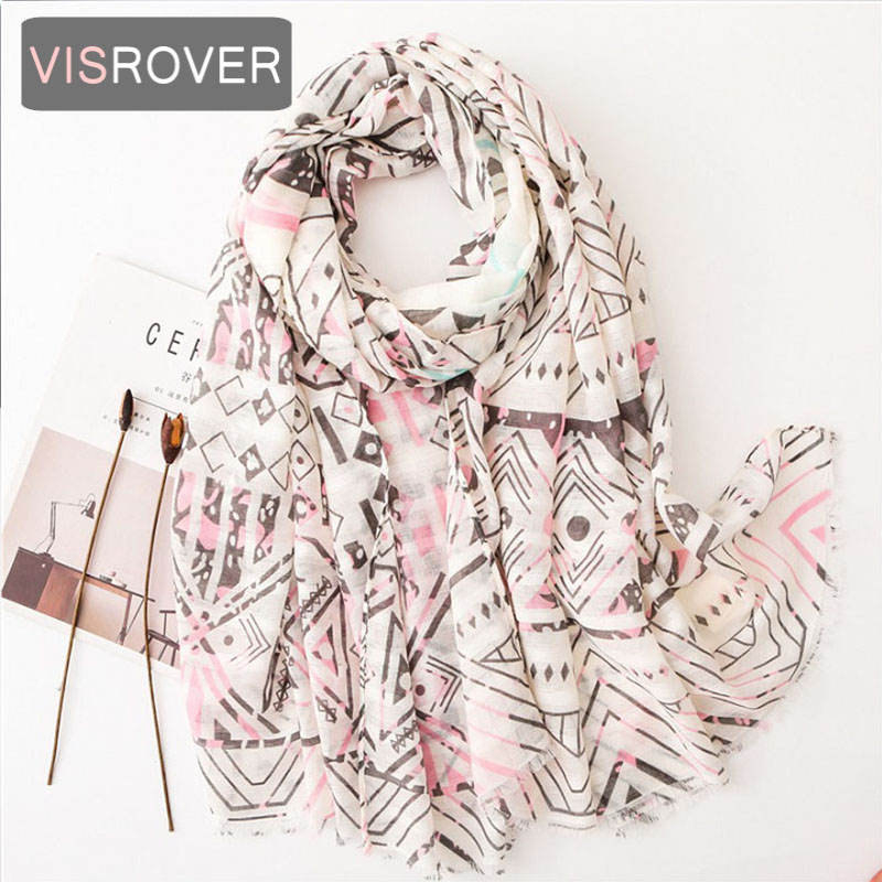 VISROVER Luxury Brand Soft Cashmere Handfeeling Summer Women Shawl With Flower Printing Hight Quality Hijab Scarf Wholesales