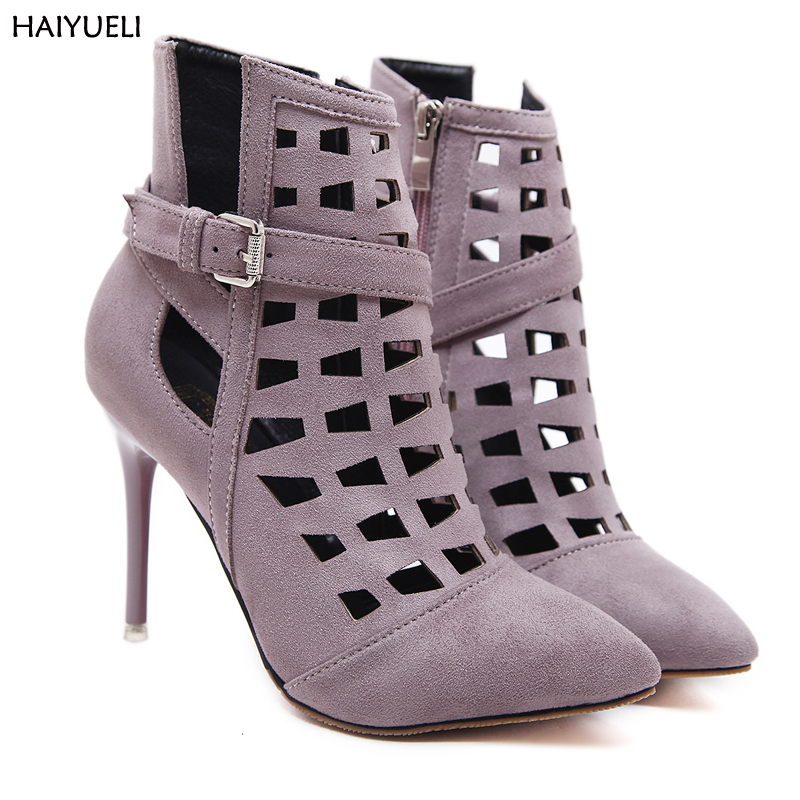 Women High Heel Boots Sexy Pointed Toe Hollow Out Ankle-Boots-For-Women Spring  Ladies Shoes Fashion Botas Mujer new 2017 spring summer women shoes pointed toe high quality brand fashion womens flats ladies plus size 41 sweet flock t179