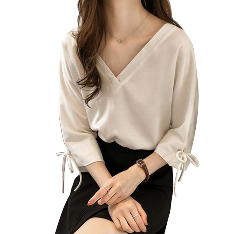 Spring Autumn White Shirt Tops Fashion Long Sleeve Bow Loose Blouse Office Ladies Blouse Blusas