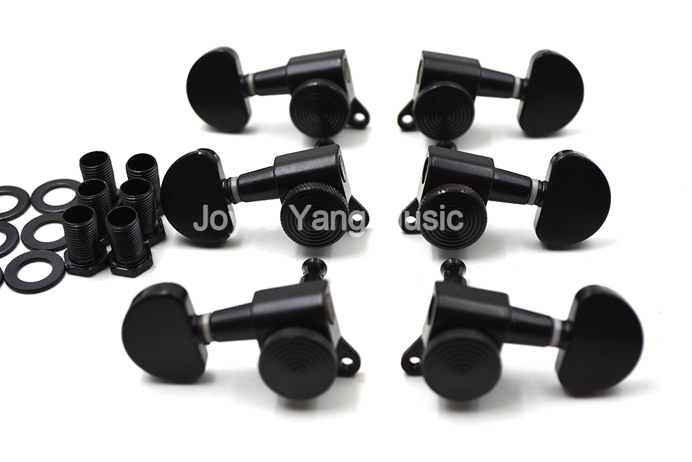 Black Semicircle Locking Acoustic Electric Guitar Tuning Pegs Tuners Machine Head 6R/3L+3R Free