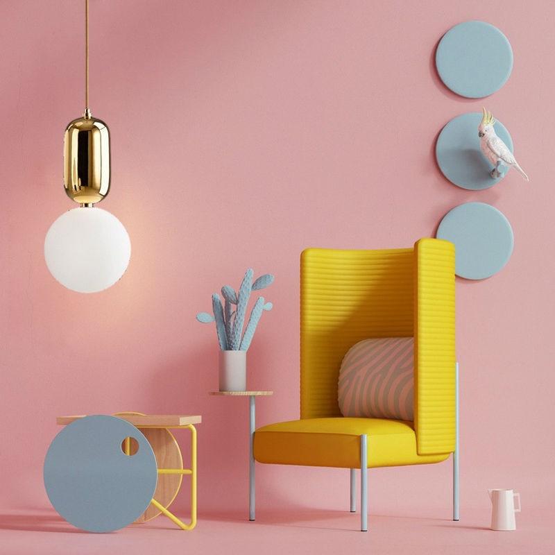 Livewin Pendant Light Gold Holder Lustres For Living Room Nordic Art ...