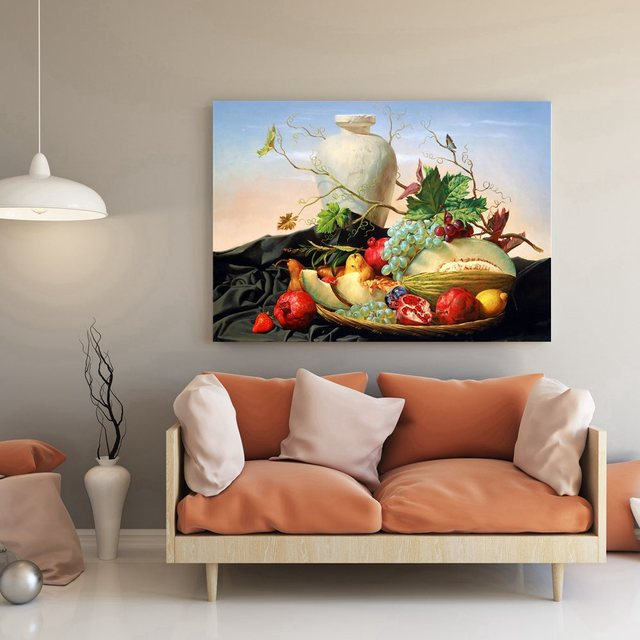 Best Artwork For Living Room Rooms Black Leather Couch Gift Fruits Still Life Oil Painting Canvas Print Unframed Grape Guava Strawberry Wall Art Decor